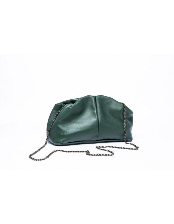 Borsa in pelle modello Stella Mini verde bottiglia Le'B