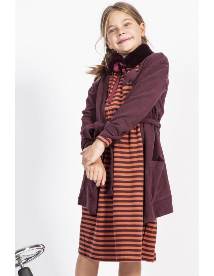 Cardigan in caldo cotone colore vinaccia Ninì Kidswear