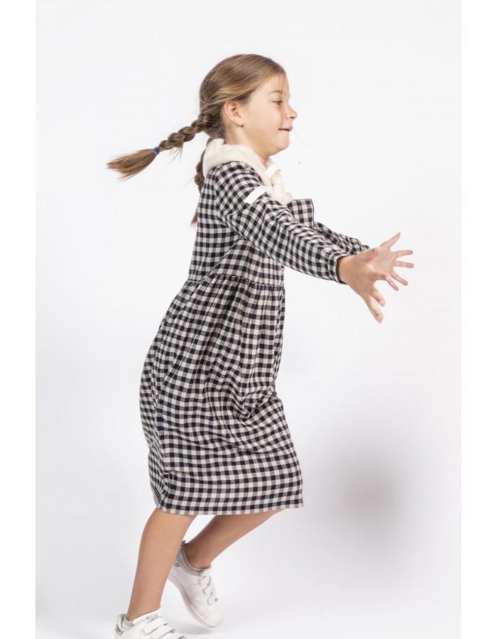 Nini' Kidswear - Vestito a quadri blu e beige