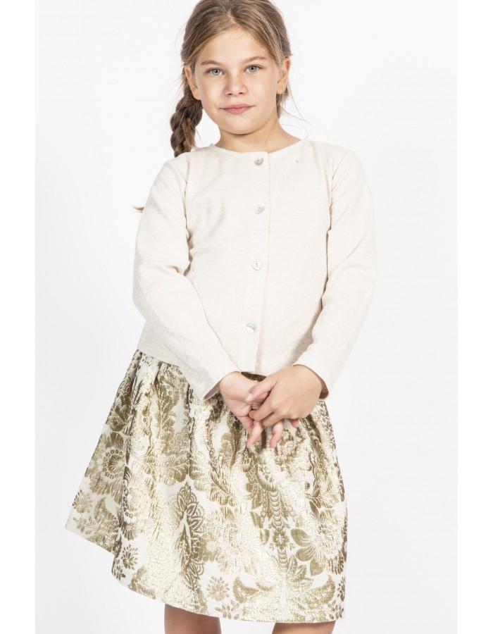 Maglione caldo cotone colore sabbia lurex Ninì Kidswear