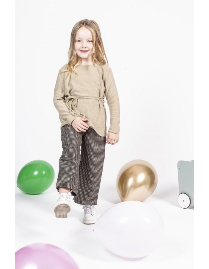 Pantaloni microquadretto bianco su nero Ninì Kidswear