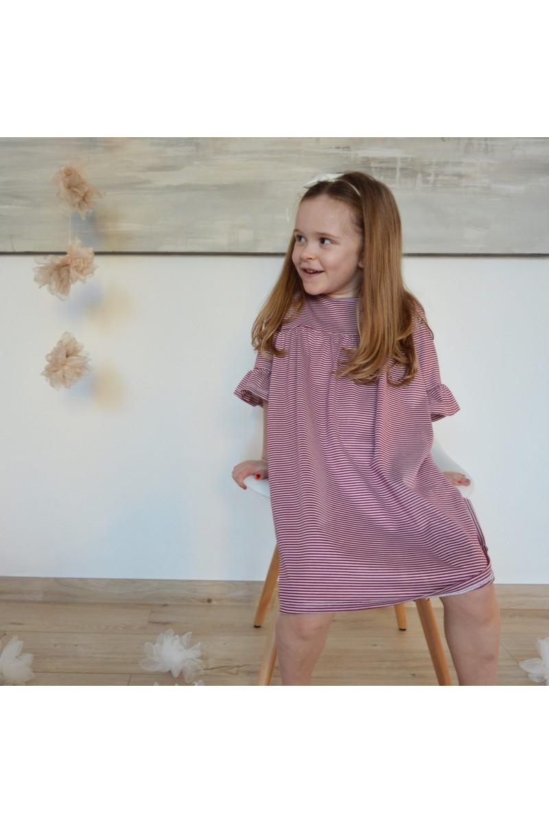 Nini' Kidswear - Vestito a righe bordeaux