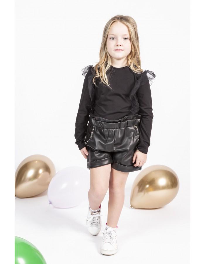 Souvenir -Shorts colore nero con borchiette