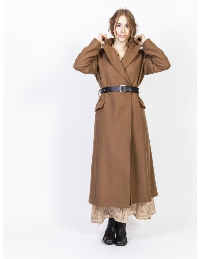 Souvenir - Cappotto color cammello con cintura in vita