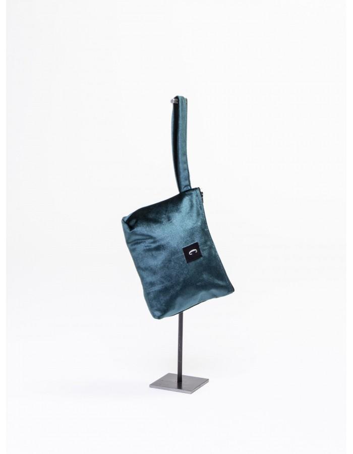 """Rever - Pochette L.Bag in tessuto iniziale """" C """" colore Verde Smeraldo"""