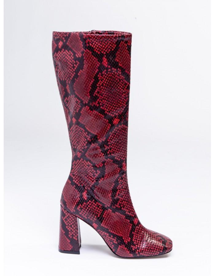 Ovye' - Stivale Alto stampa serpente Red