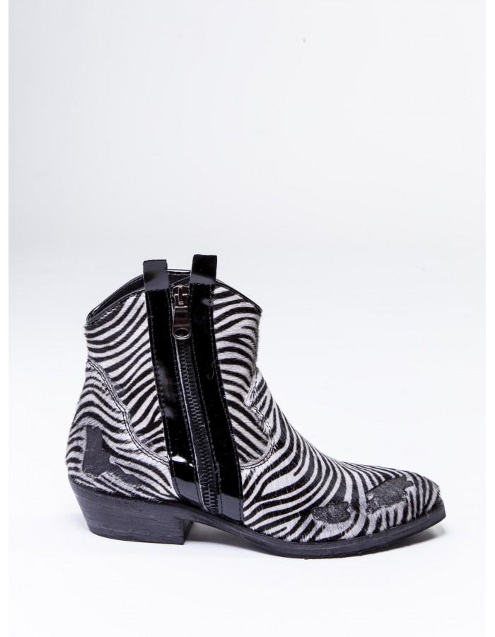 Ovye' - Stivaletto texano Zebrato Vintage Colore nero-bianco