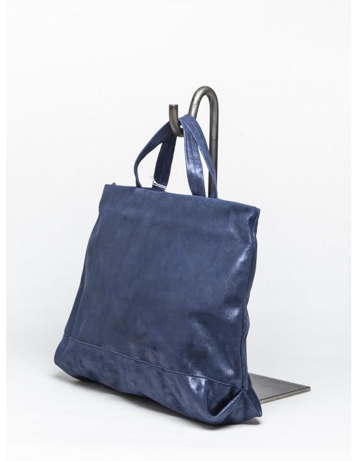 le' b. - Borsa Cora BLU tracolla bicolore blu e cuoio