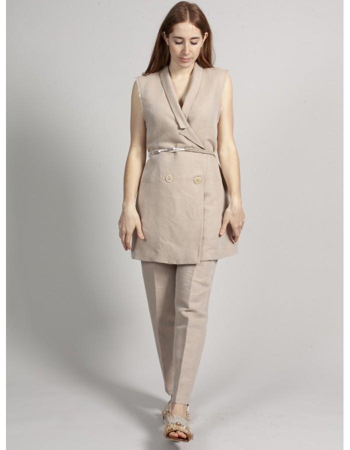 Beatrice b - Pantaloni misto lino beige