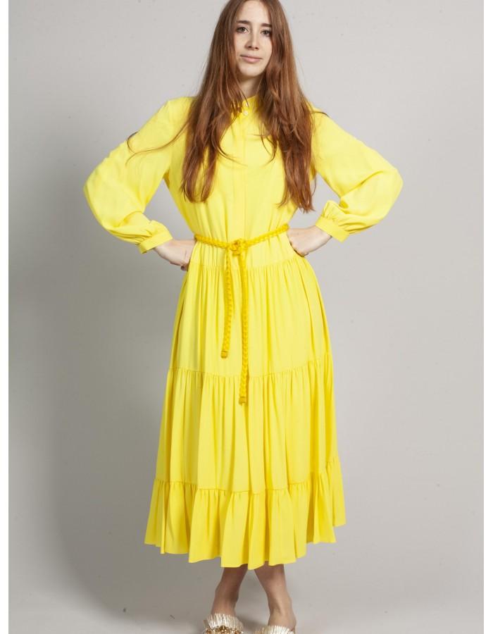 Beatrice b - Abito lungo giallo con cintura