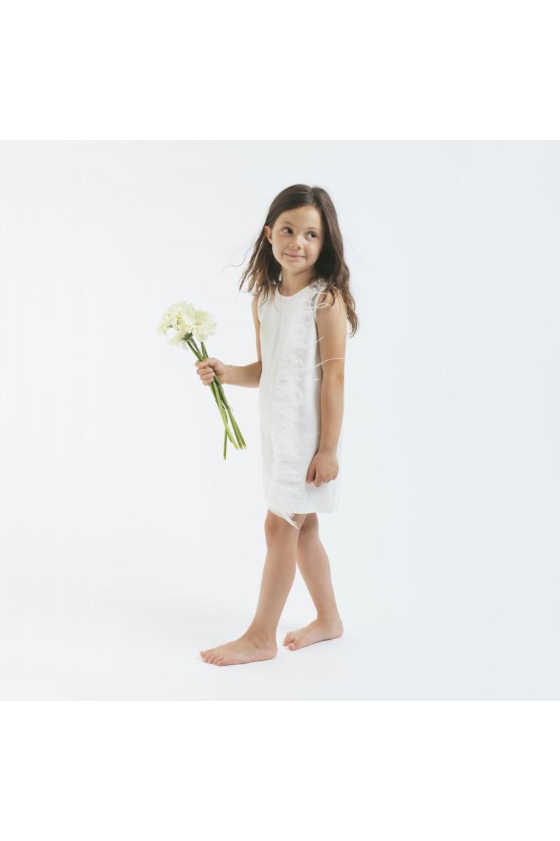 Nini' Kidswear - Abito bianco smanicato in cotone