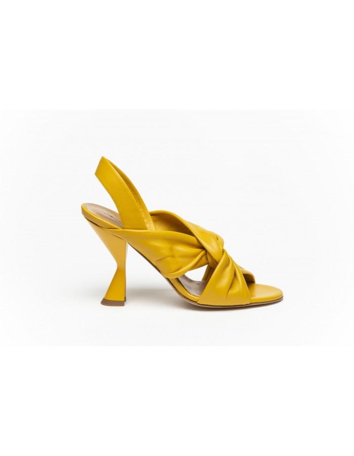 Sergio Amaranti - Sandalo con tacco di nappa morbidissima colore giallo