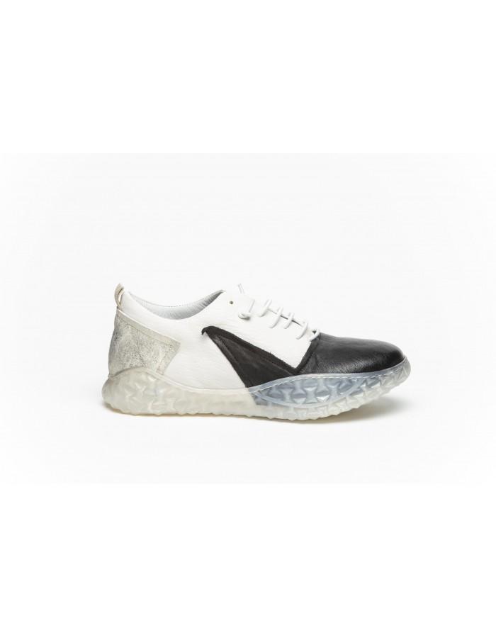 Sneakers in pelle nera e off white 1725.a