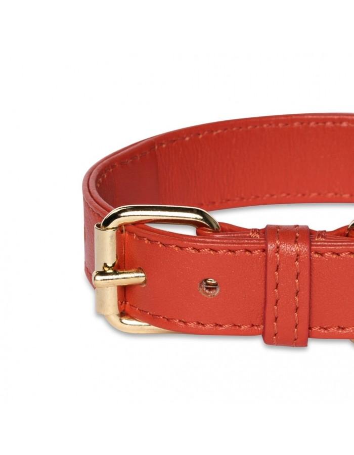Collare in pelle rossa scarlatto Perro Collection