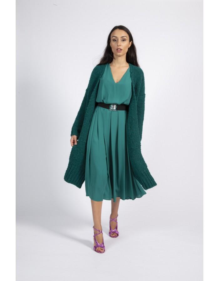 Souvenir - Cardigan lungo verde smeraldo